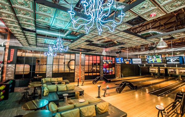 Punch Bowl Social's bowling lanes and tables in its Denver outpost. (Courtesy PBS)
