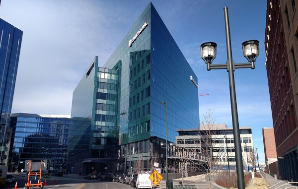 The 10-story, 227,000-square-foot Triangle Building is searching for a buyer. (Burl Rolett)