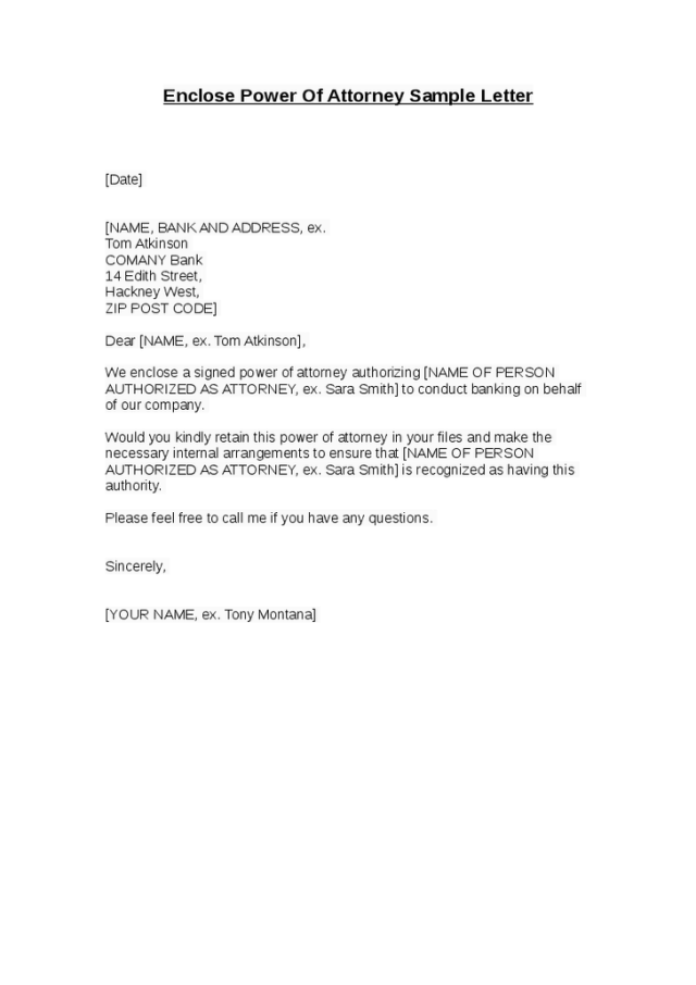 Power Of Attorney Letter Sample