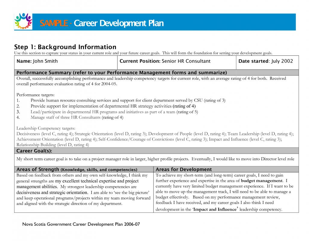 Sample Career Development Plans Business Form Letter