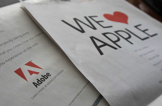 The iPhone and the iPad accidentally started an internet standards war. Jobs thought Adobe's Flash, then the de facto standard for interactive web content, was slow and insecure. And so Apple's mobile devices didn't support it. A jilted Adobe, recognizing the threat this posed to its business, took out magazine ads begging Apple to reconsider, to no avail.