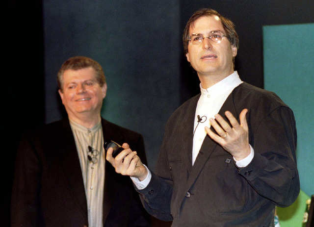 In late 1996, Apple announced plans to bring cofounder Steve Jobs back into the fold 11 years after he left the company by acquiring his startup NeXT for $429 million — just in time for Jobs to join then-Apple CEO Gil Amelio on stage at January 1997's Macworld Expo, a convention for Mac enthusiasts, as a keynote speaker.