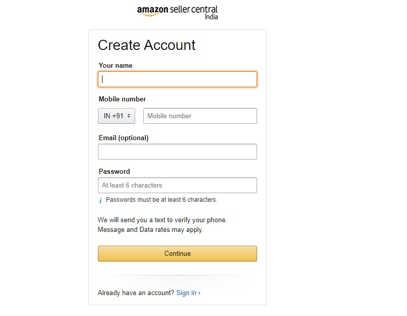 amazon create account
