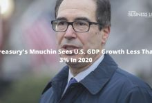 Treasury's Mnuchin Sees U.S. GDP Growth Less Than 3% In 2020