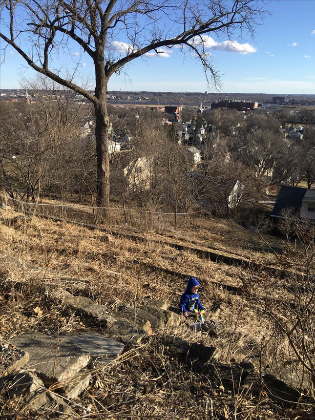 Clearing the property was hard work with my son Max.
