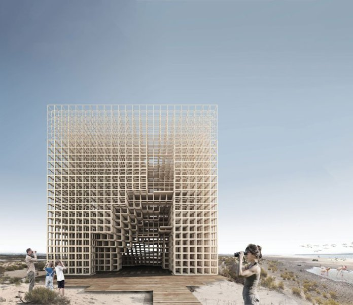 winning designs for abu dhabi flamingo observation tower include a pixelated cube