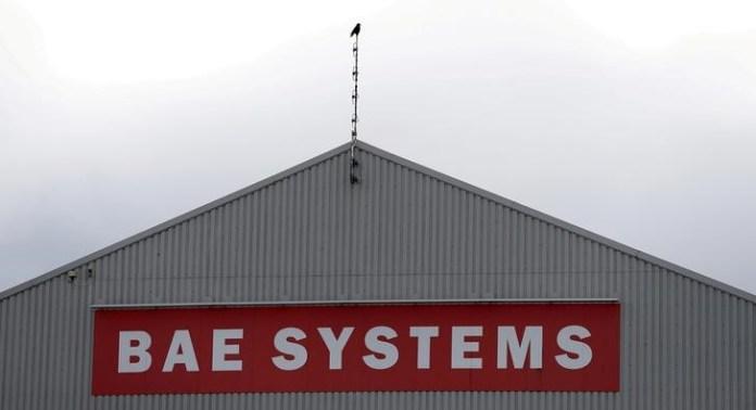 © Reuters. FILE PHOTO: A sign adorns a hangar at the BAE Systems facility in Salmesbury