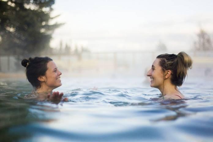 Visitors unwind in the healing waters of Takhini Hot Springs