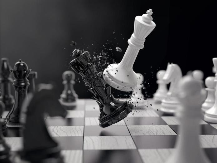 black and white chess battle