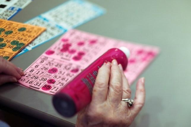 a woman playing bingo