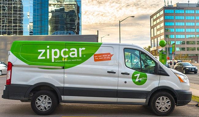 Zipcar van in Toronto. Zipcar is now a subsidiary of Avis Budget Group.