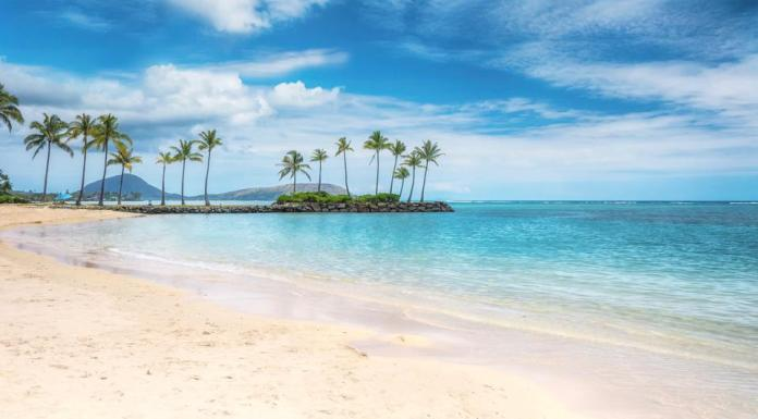 A beautiful beach scene in the Kahala area of Honolulu, with fine white sand, shallow turquoise water, a view of coconut palm trees and Diamond Head in the background.