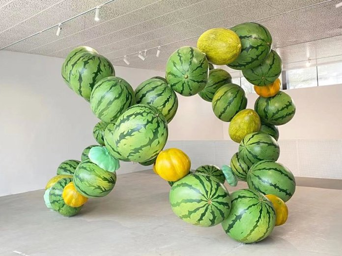 cyril lancelin explore data and nature abundance in an immersive sculpture made of giant melons in beijing 2
