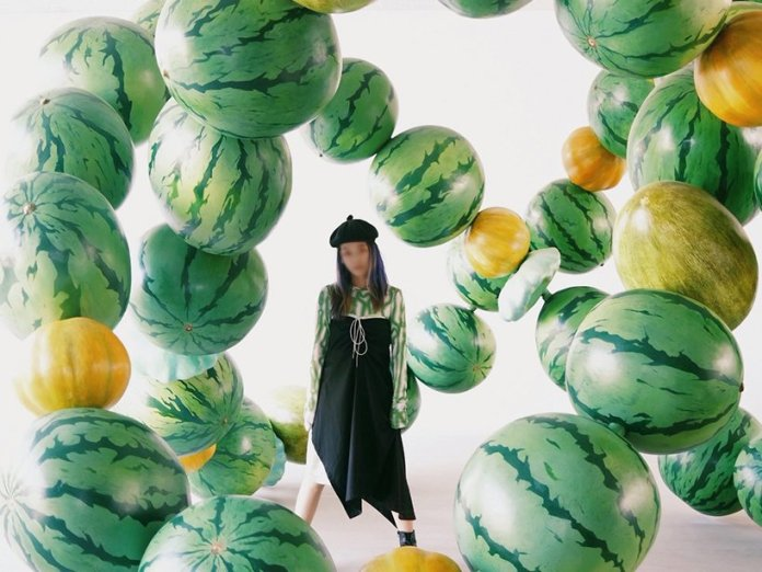 giant melons take over cyril lancelin's surreal immersive installation in beijing