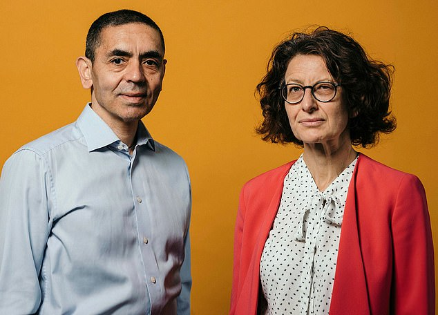 Pfizer's two-shot Covid vaccine was developed in partnership Biontech, which was founded by husband-and-wife team Ugur Sahin (left) and Ozlem Tureci (right)