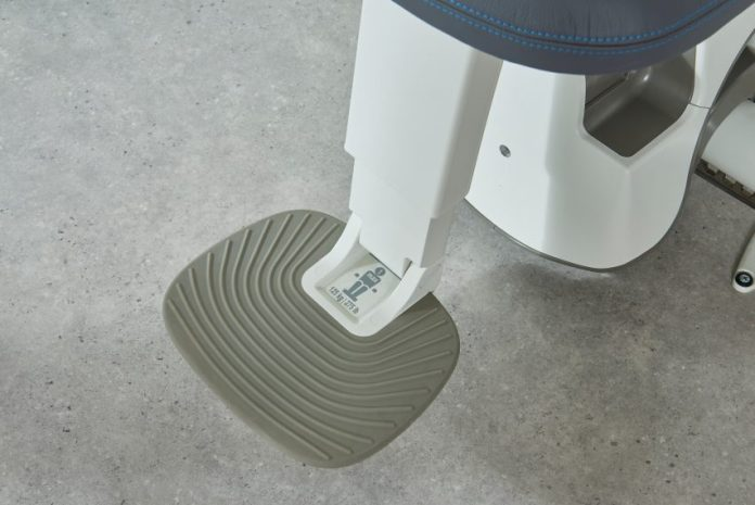 Textured footrest of stairlift by Pearson Lloyd for Access BDD