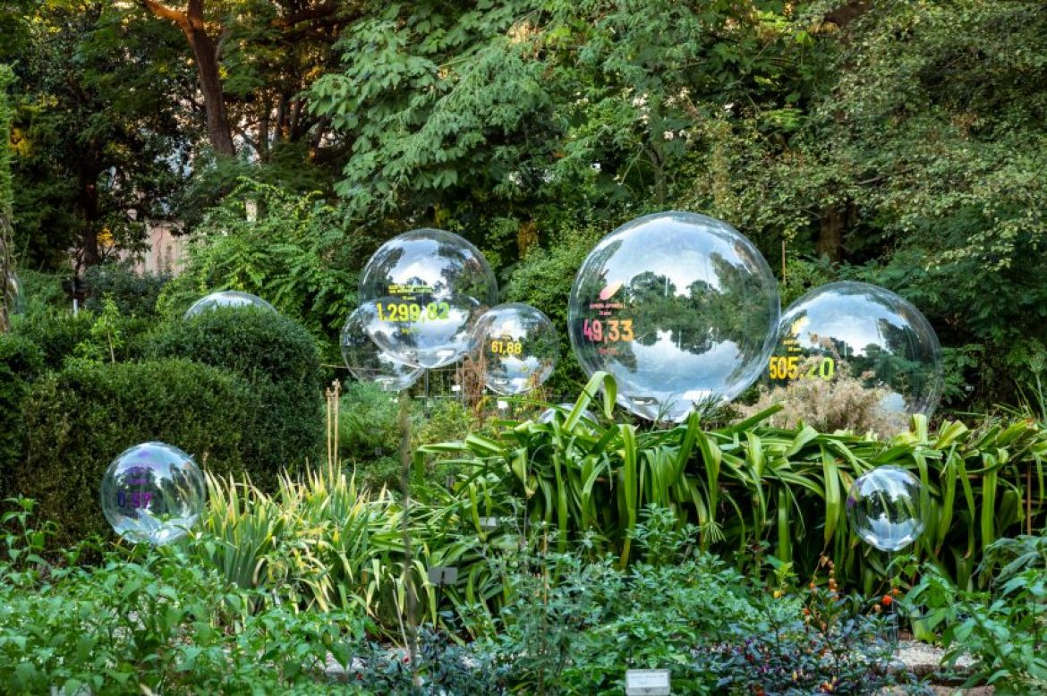 Natural Capital bubbles surrounded by plants at the Brera Botanical Garden