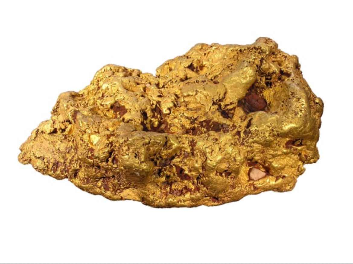 Gold nugget. (source: Wikipedia with modified background)