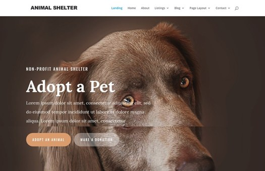 animal website template