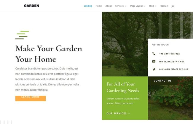 garden website template