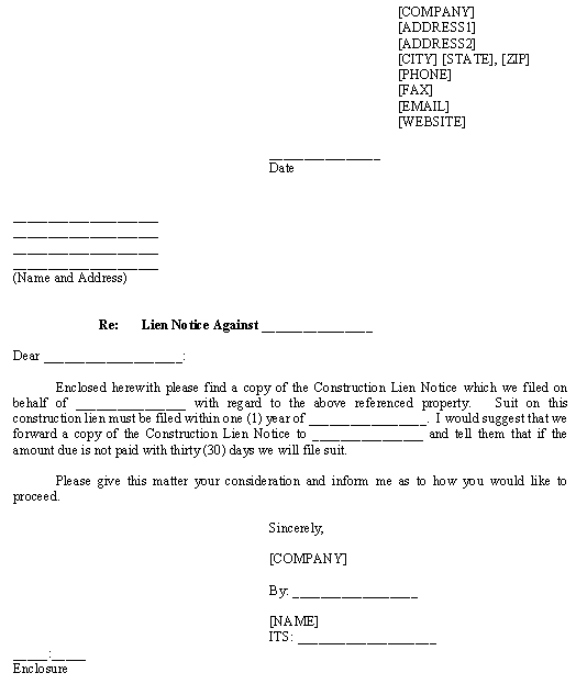 Notice of intent to lien letter sample docoments ojazlink for Mechanics lien letter of intent