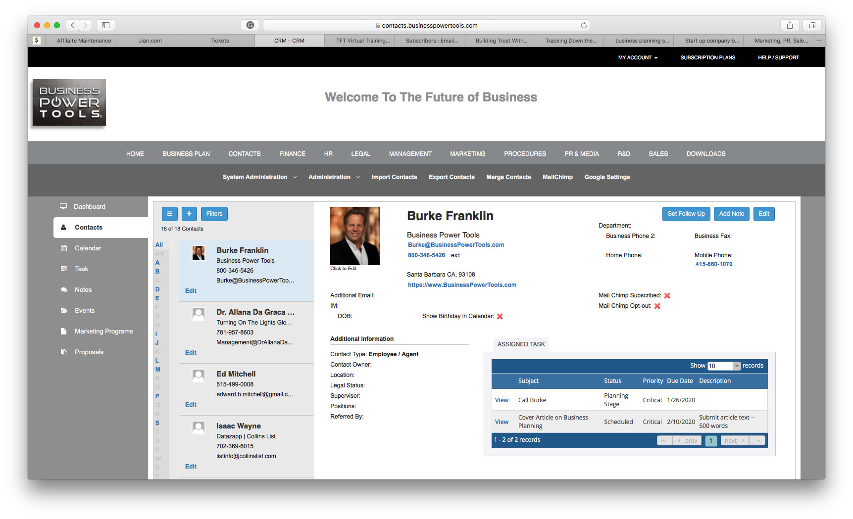 online small business crm dashboard