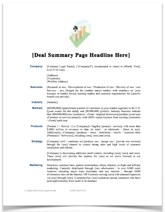 Sample Summary Business Plan Template