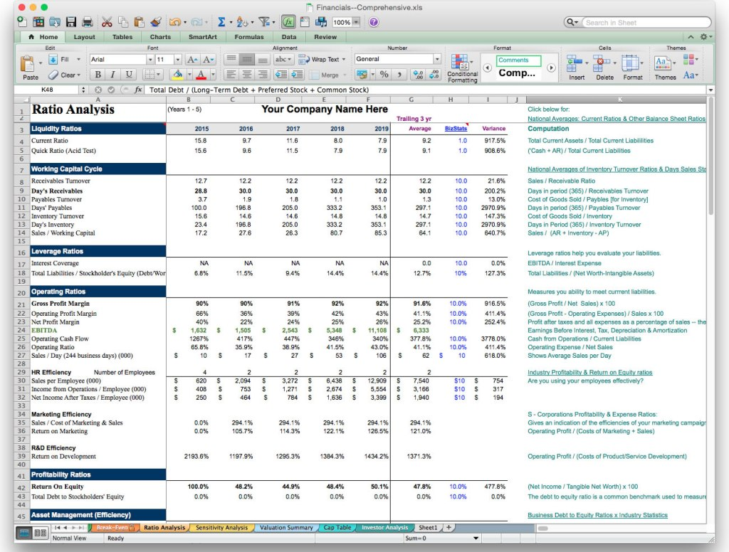 screen image business plan excel financial model template ratio analysis