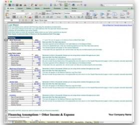 business plan financing wizard excel worksheet
