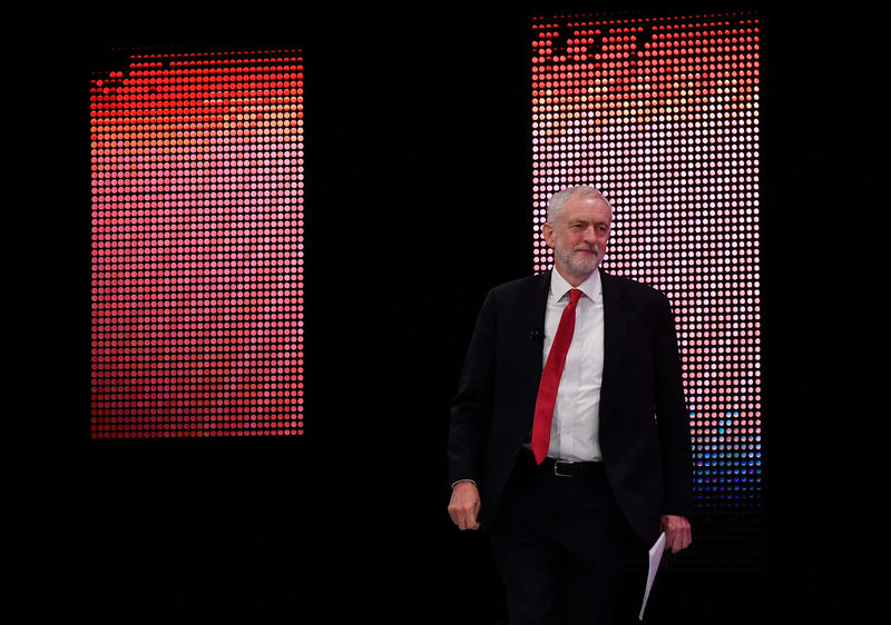 © Reuters. Jeremy Corbyn, leader of the Labour Party, arrives to speak at the Confederation of British Industry's (CBI) annual conference in London
