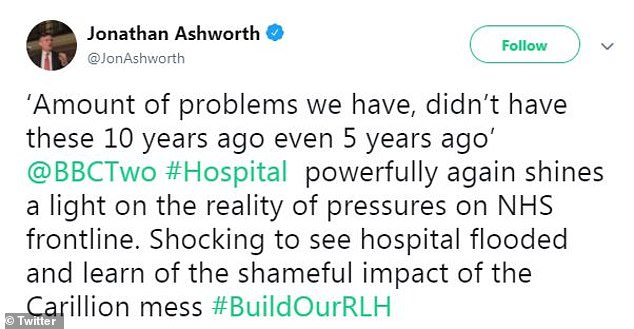 Labour's Shadow Health Secretary, Jonathan Ashworth, said the collapse of Government contractor has had a 'shameful impact' on the health service