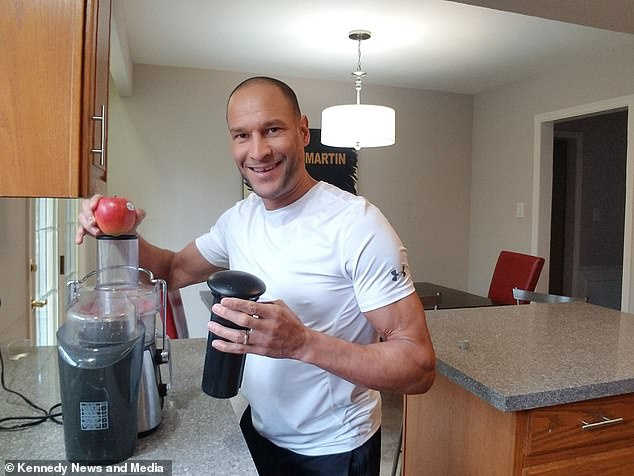 Mr Moniz-DePass - a former fruitarian - drinks fruit juice if hungry while on the extreme diet