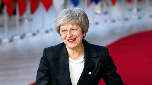 British Prime Minister Theresa May arrives at a European Union leaders summit in Brussels, Belgium December 13, 2018.