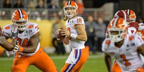 Trevor Lawrence drops back to pass against Alabama