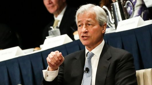 Jamie Dimon, Chairman and CEO of JP Morgan Chase speaking at the New York Economic Club on Jan. 16, 2019.