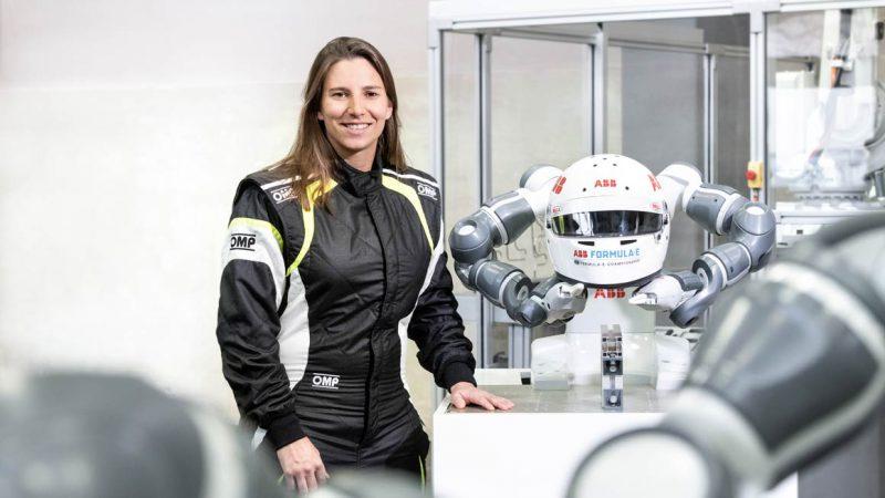 Simona de Silvestro with ABB's Yumi robot. Source: ABB