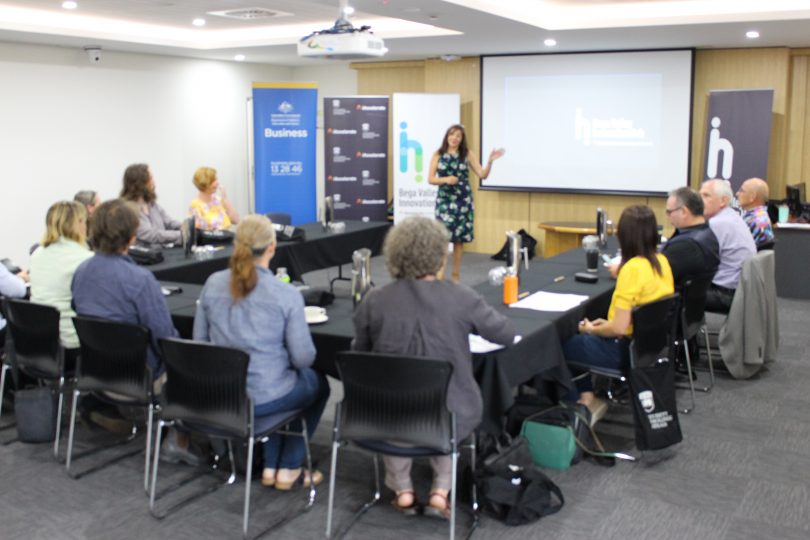 Mia Maze, Manager of teh Bega Valley Innovation Hub addresses the first cohort of start-ups. Photo: Ian Campbell.