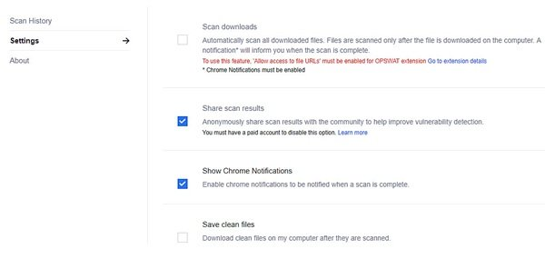 OPSWAT File Security for Chrome scans downloaded files with