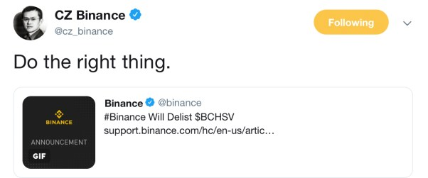 BSV Falls 13% After Binance Reveals Plans to Delist the Coin