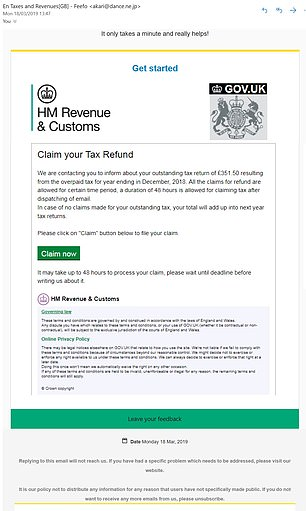 Fake email: HMRC released this example to warn people not to fall for them