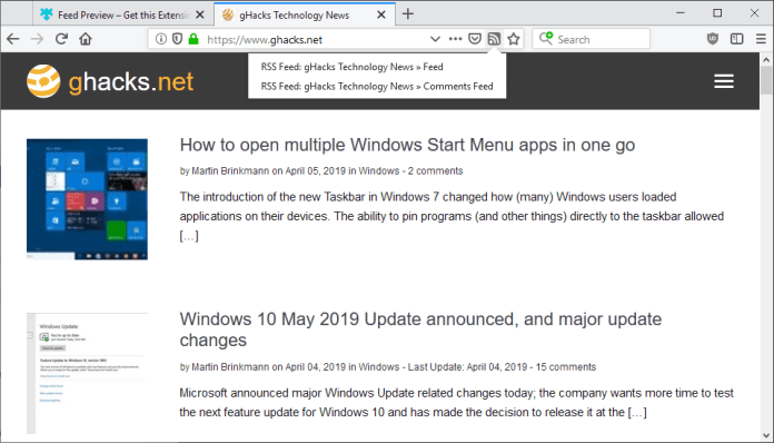 Feed Preview for Firefox - Ghacks Technology News