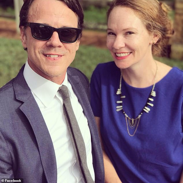 Calver, a father-of-two, suffered a heart attack in April 2017 and was taken to St David's Medical Center, which was out of his insurance network, but the closest to his home in Austin, Texas. Pictured: Calver, left, with his wife, Erin