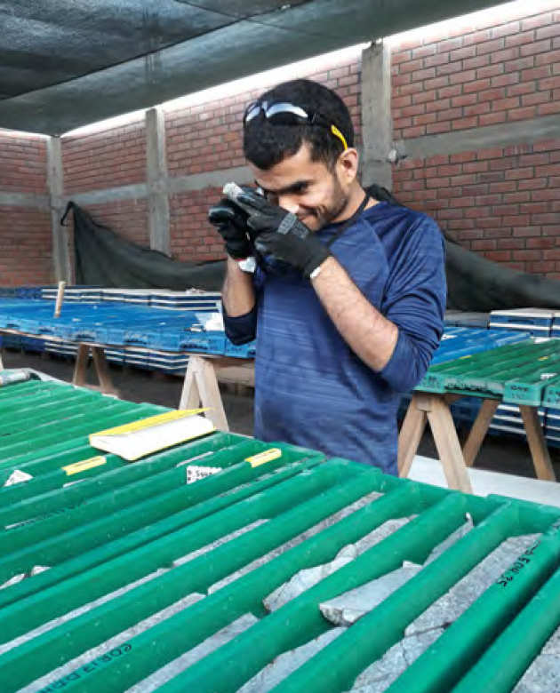 Chetan examining drillcore from the Corcapunta project in Barranca core shed