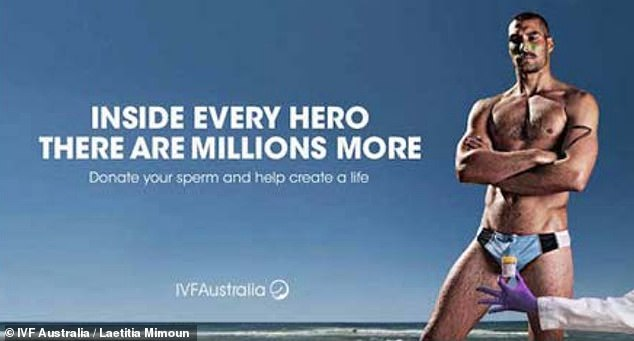 This billboard ad from IVF Australia in 2015 depicts a sperm donor as a heroic, muscular man, suggesting those are traits associated with men who donate sperm