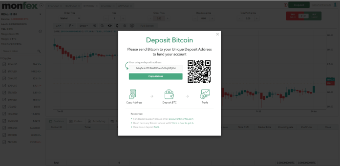 It's very simple to deposit BTC to your trading account on Monfex.