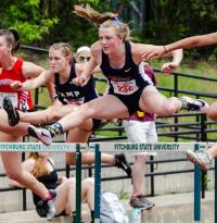 North Middlesex's MacKenzie Luth competes in the 100-meter hurdles.