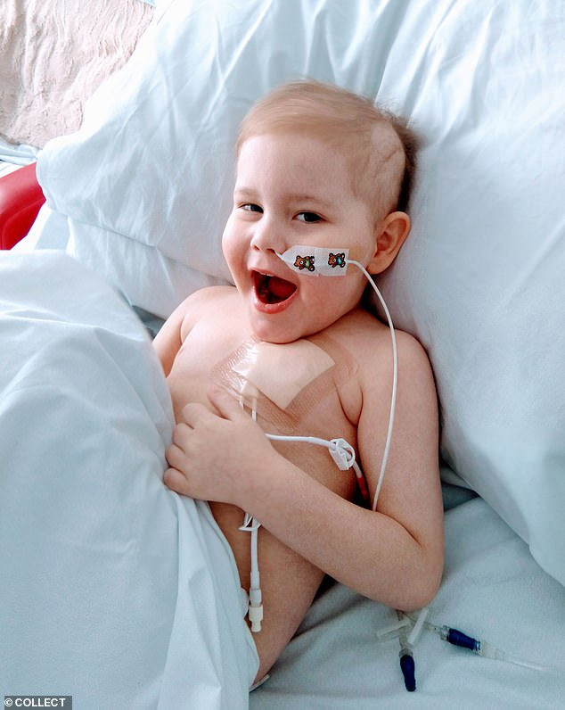 In March it emerged that a match had been found, and tests in April showed Oscar had no cancerous cells left in his bone marrow after chemotherapy, meaning a stem cell transplant could take place. Pictured in hospital