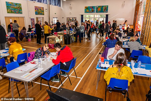 Volunteers and potential donors took over two halls at Pitmaston School in Worcester in March