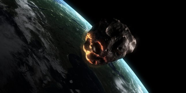 Asteroid approaching Earth. Computer artwork of an asteroid entering Earth's atmosphere.