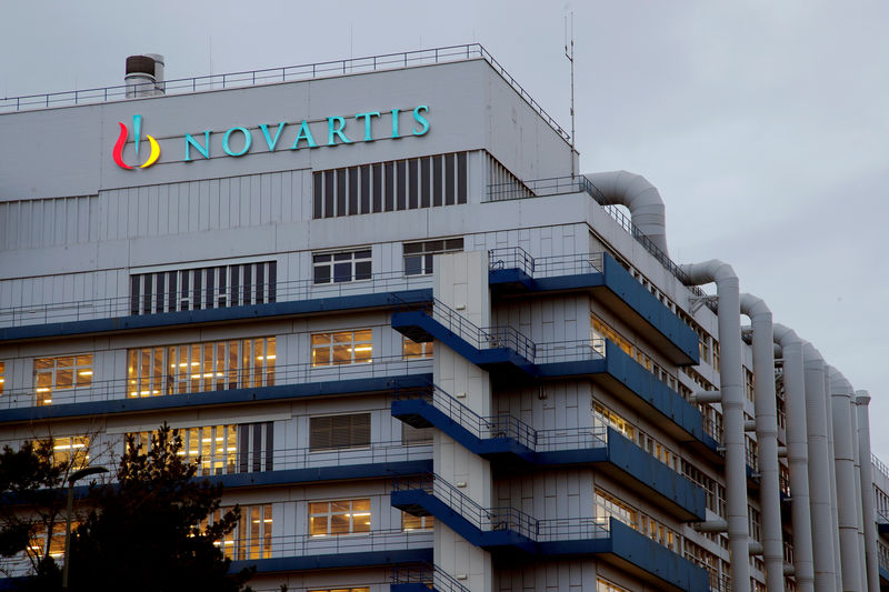 © Reuters. FILE PHOTO: Logo of Swiss drugmaker Novartis is seen at its branch in Schweizerhalle near Basel